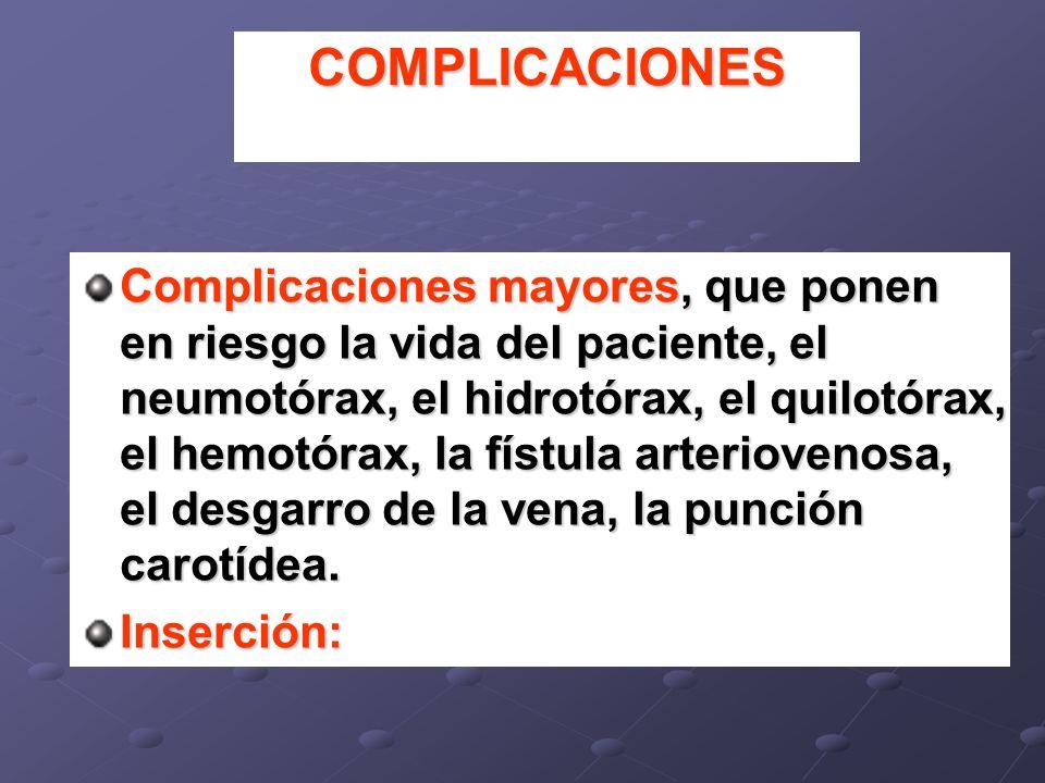 COMPLICACIONES Complicaciones mayores, que ponen en riesgo la vida del paciente, el neumotórax, el hidrotórax, el quilotórax, el hemotórax, la fístula