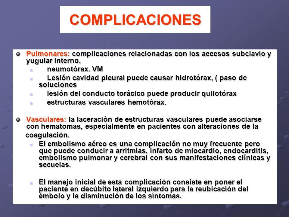COMPLICACIONES Pulmonares: complicaciones relacionadas con los accesos subclavio y yugular interno, neumotórax. VM neumotórax. VM Lesión cavidad pleur