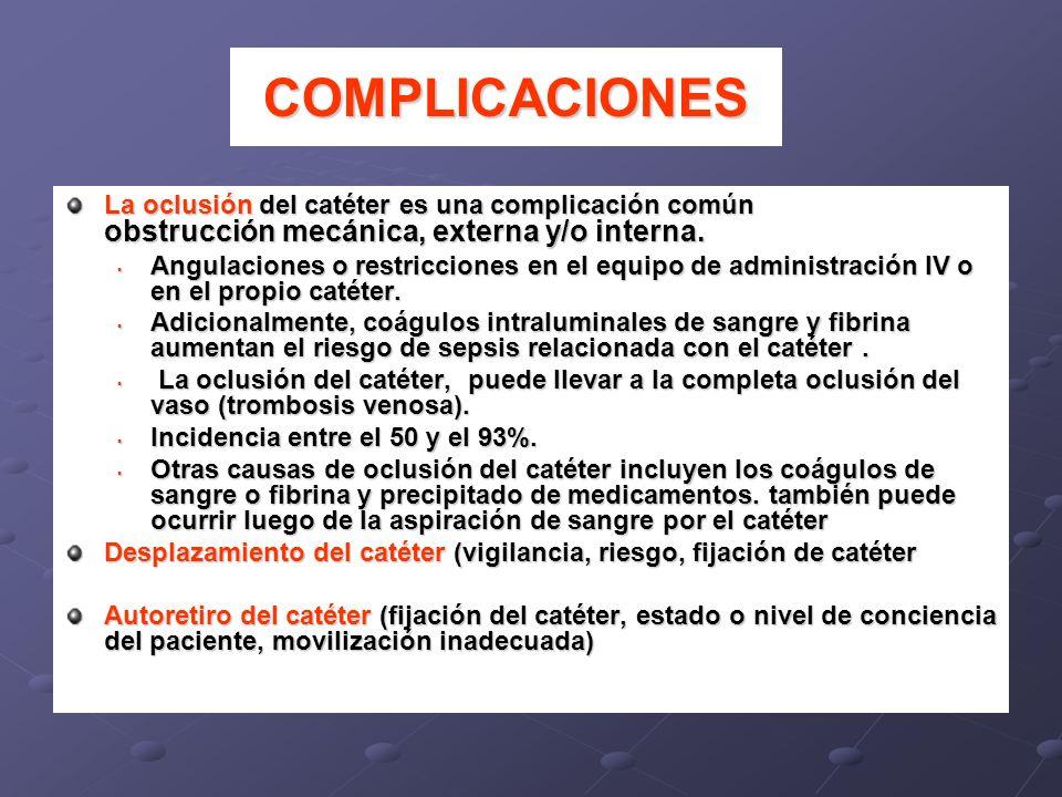 La oclusión del catéter es una complicación común obstrucción mecánica, externa y/o interna. Angulaciones o restricciones en el equipo de administraci