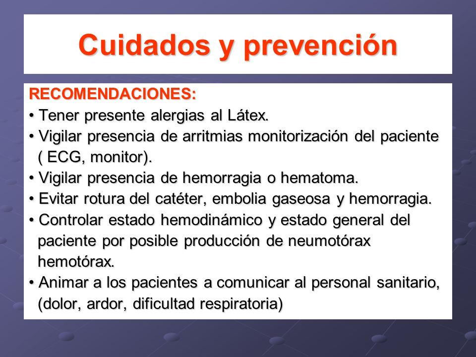 Cuidados y prevención RECOMENDACIONES: Tener presente alergias al Látex. Tener presente alergias al Látex. Vigilar presencia de arritmias monitorizaci
