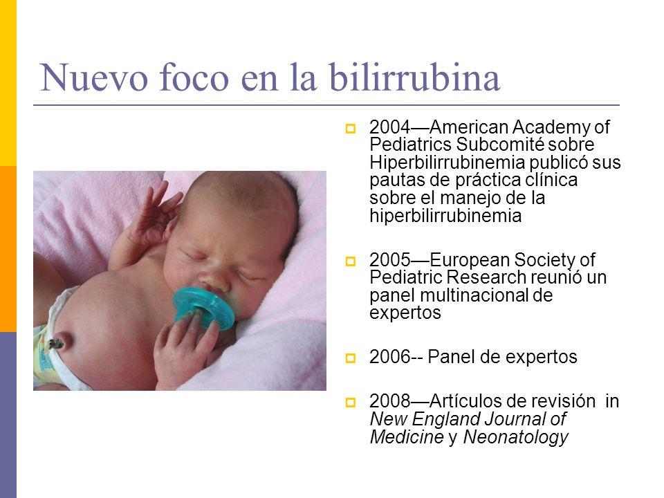 Nuevo foco en la bilirrubina 2004American Academy of Pediatrics Subcomité sobre Hiperbilirrubinemia publicó sus pautas de práctica clínica sobre el ma