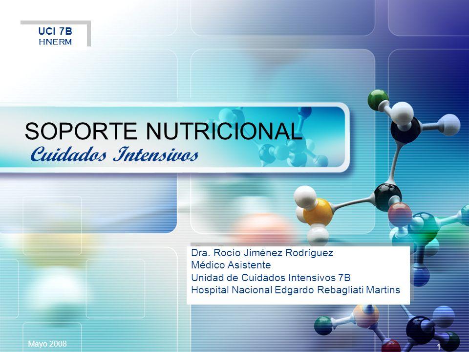 LOGO Mayo 2008 1 SOPORTE NUTRICIONAL Dra. Rocío Jiménez Rodríguez Médico Asistente Unidad de Cuidados Intensivos 7B Hospital Nacional Edgardo Rebaglia