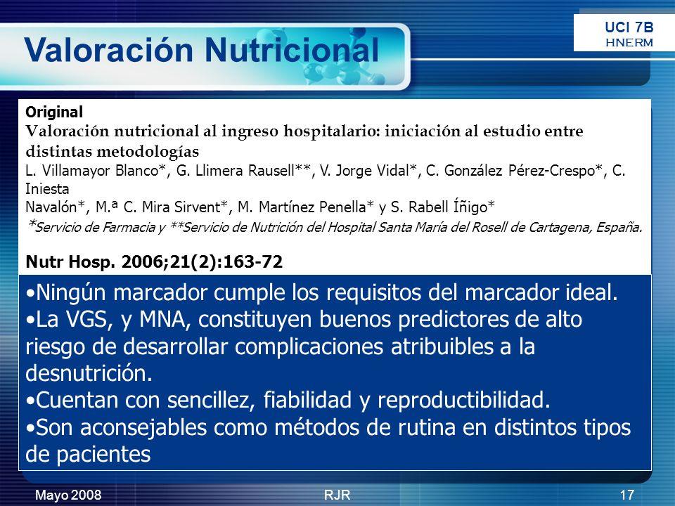 Mayo 2008RJR17 Original Valoración nutricional al ingreso hospitalario: iniciación al estudio entre distintas metodologías L. Villamayor Blanco*, G. L