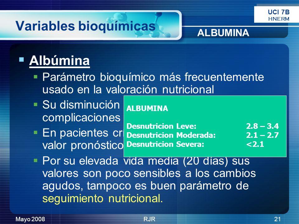Mayo 2008RJR21 Variables bioquímicas Albúmina Parámetro bioquímico más frecuentemente usado en la valoración nutricional Su disminución se asocia a au