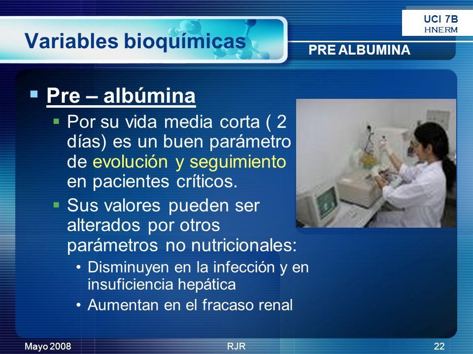 Mayo 2008RJR22 Variables bioquímicas Pre – albúmina Por su vida media corta ( 2 días) es un buen parámetro de evolución y seguimiento en pacientes crí