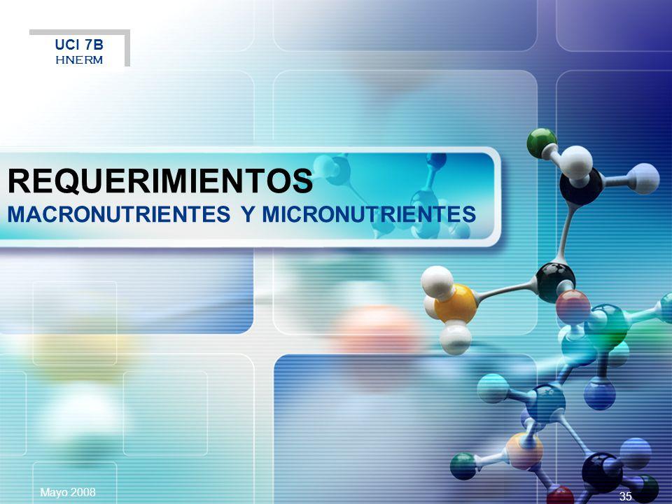 LOGO Mayo 2008 35 REQUERIMIENTOS MACRONUTRIENTES Y MICRONUTRIENTES UCI 7B HNERM