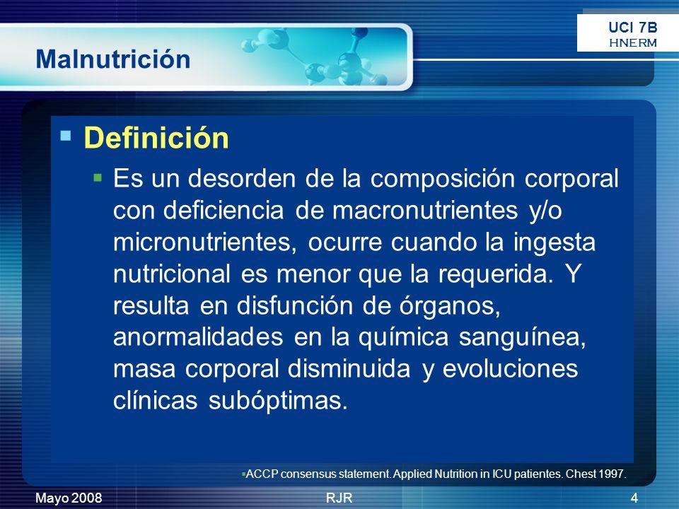 Mayo 2008RJR4 Malnutrición Definición Es un desorden de la composición corporal con deficiencia de macronutrientes y/o micronutrientes, ocurre cuando