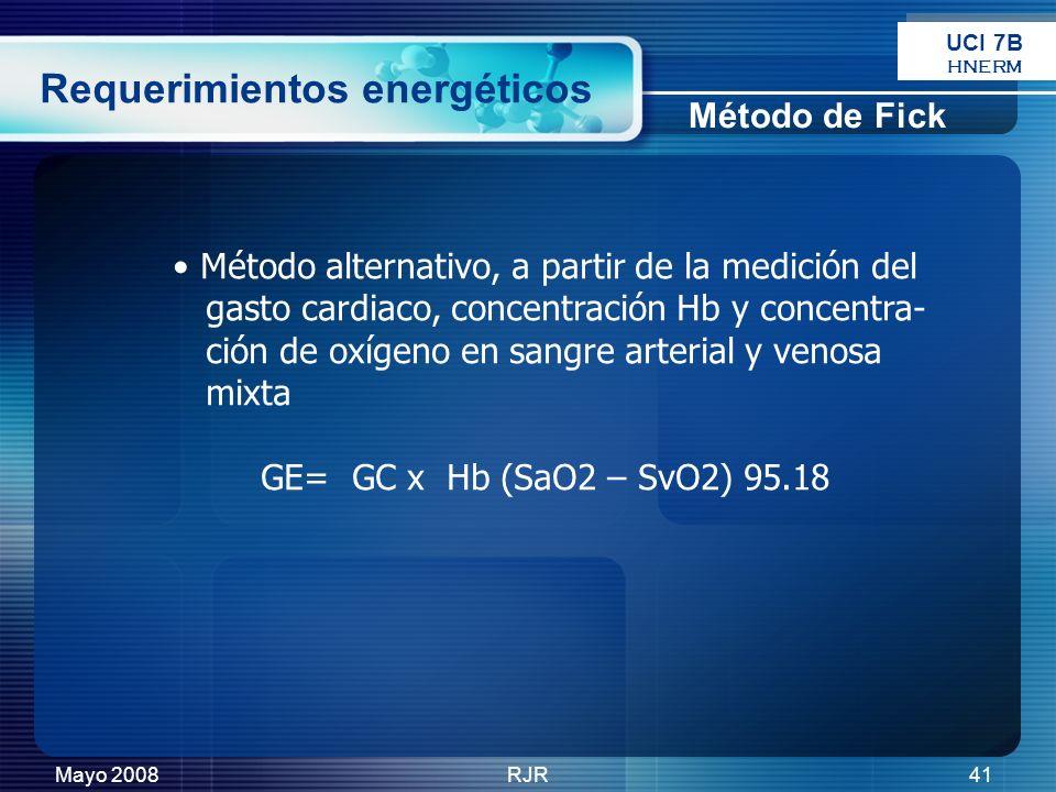 Mayo 2008RJR41 Método alternativo, a partir de la medición del gasto cardiaco, concentración Hb y concentra- ción de oxígeno en sangre arterial y veno