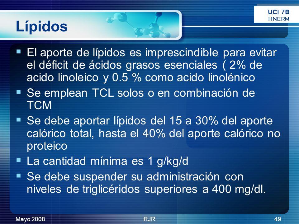Mayo 2008RJR49 Lípidos El aporte de lípidos es imprescindible para evitar el déficit de ácidos grasos esenciales ( 2% de acido linoleico y 0.5 % como