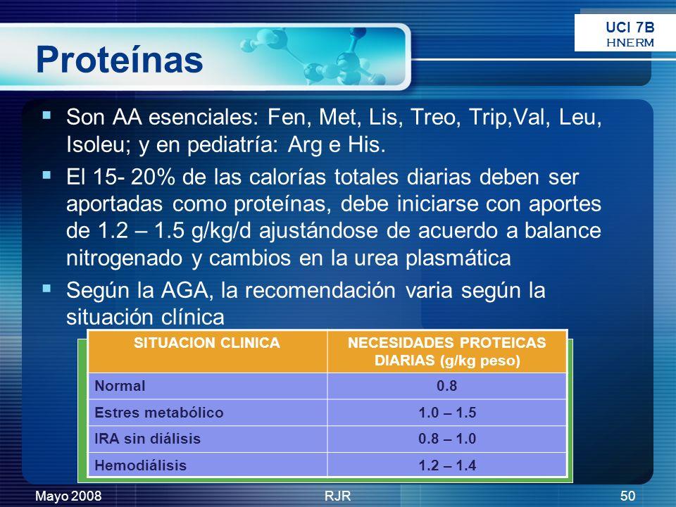 Mayo 2008RJR50 Proteínas Son AA esenciales: Fen, Met, Lis, Treo, Trip,Val, Leu, Isoleu; y en pediatría: Arg e His. El 15- 20% de las calorías totales