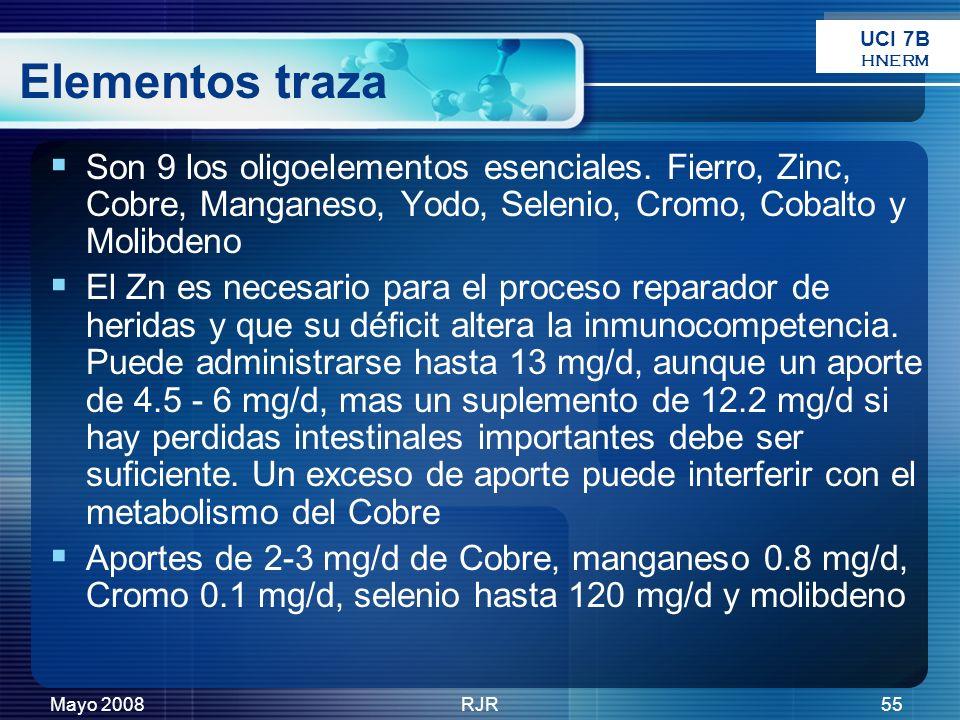 Mayo 2008RJR55 Elementos traza Son 9 los oligoelementos esenciales. Fierro, Zinc, Cobre, Manganeso, Yodo, Selenio, Cromo, Cobalto y Molibdeno El Zn es