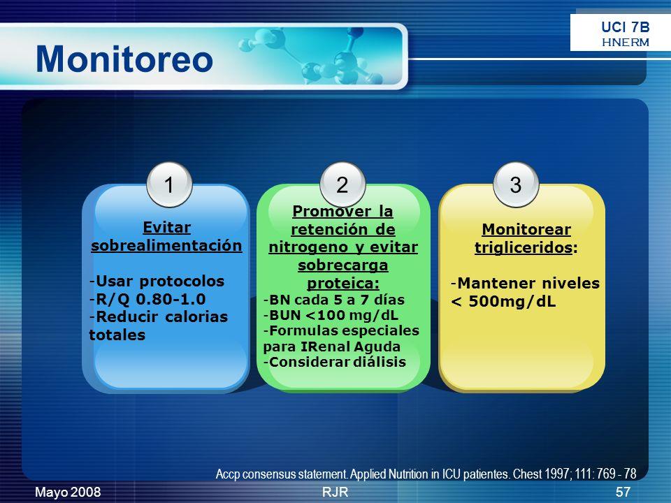 Mayo 2008RJR57 Monitoreo 1 Evitar sobrealimentación -Usar protocolos -R/Q 0.80-1.0 -Reducir calorias totales 3 Monitorear trigliceridos: -Mantener niv