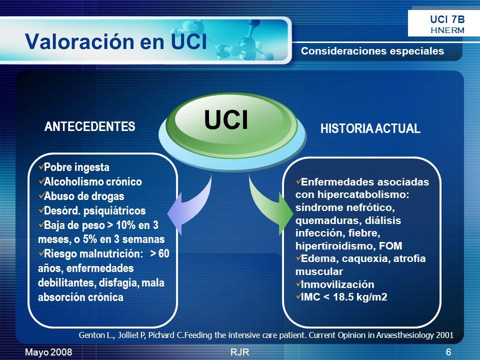 Mayo 2008RJR6 Valoración en UCI Enfermedades asociadas con hipercatabolismo: síndrome nefrótico, quemaduras, diálisis infección, fiebre, hipertiroidis