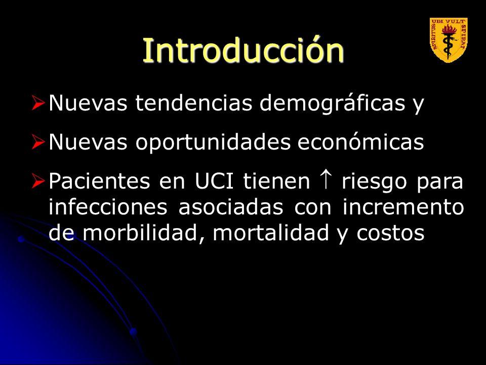 Introducción Nuevas tendencias demográficas y Nuevas oportunidades económicas Pacientes en UCI tienen riesgo para infecciones asociadas con incremento