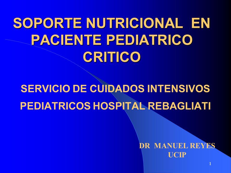 1 SOPORTE NUTRICIONAL EN PACIENTE PEDIATRICO CRITICO SERVICIO DE CUIDADOS INTENSIVOS PEDIATRICOS HOSPITAL REBAGLIATI DR MANUEL REYES UCIP