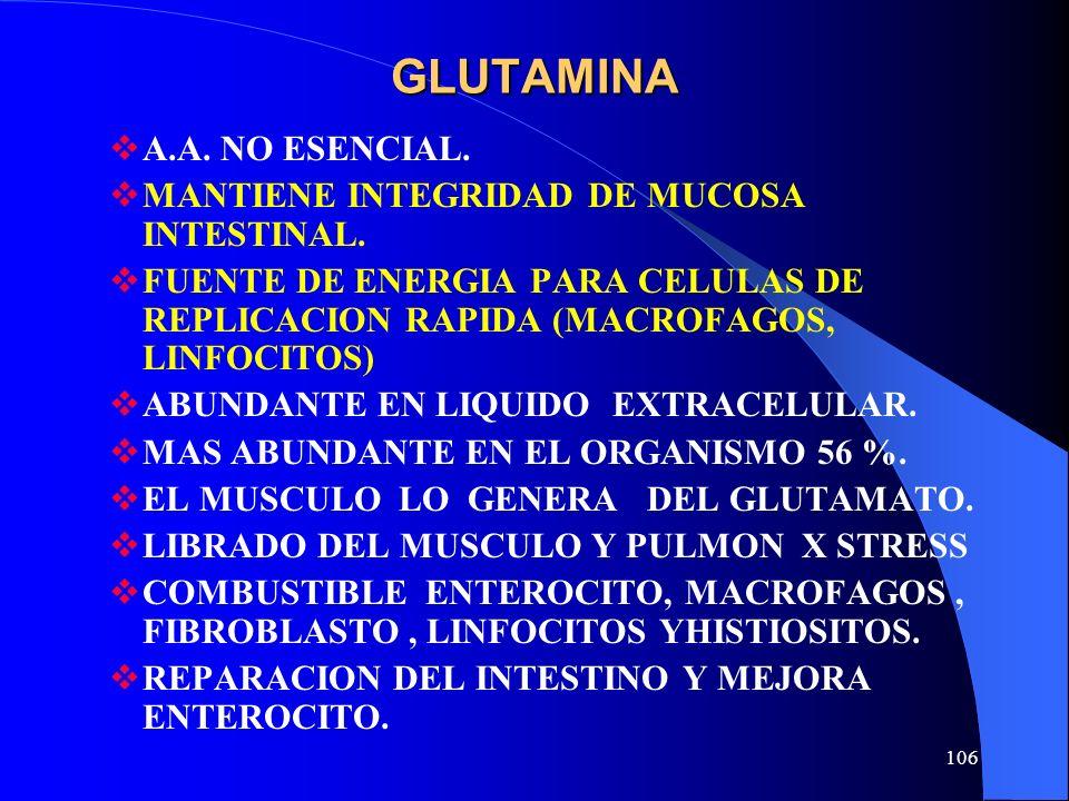 106 GLUTAMINA A.A. NO ESENCIAL. MANTIENE INTEGRIDAD DE MUCOSA INTESTINAL. FUENTE DE ENERGIA PARA CELULAS DE REPLICACION RAPIDA (MACROFAGOS, LINFOCITOS