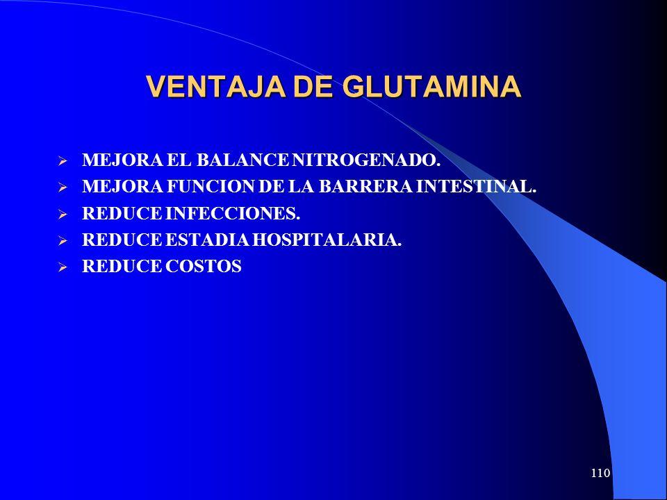 110 VENTAJA DE GLUTAMINA MEJORA EL BALANCE NITROGENADO. MEJORA FUNCION DE LA BARRERA INTESTINAL. REDUCE INFECCIONES. REDUCE ESTADIA HOSPITALARIA. REDU