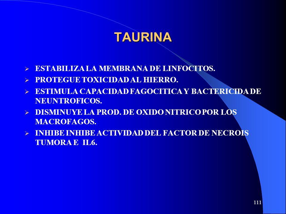 111 TAURINA ESTABILIZA LA MEMBRANA DE LINFOCITOS. PROTEGUE TOXICIDAD AL HIERRO. ESTIMULA CAPACIDAD FAGOCITICA Y BACTERICIDA DE NEUNTROFICOS. DISMINUYE