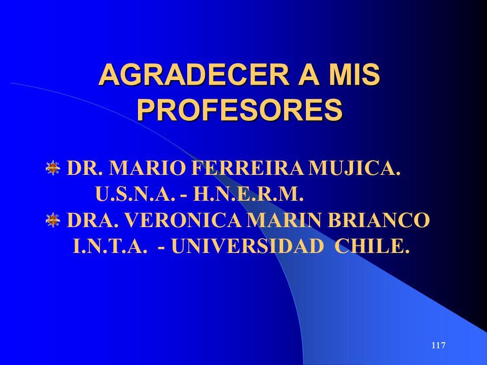 117 AGRADECER A MIS PROFESORES DR. MARIO FERREIRA MUJICA. U.S.N.A. - H.N.E.R.M. DRA. VERONICA MARIN BRIANCO I.N.T.A. - UNIVERSIDAD CHILE.