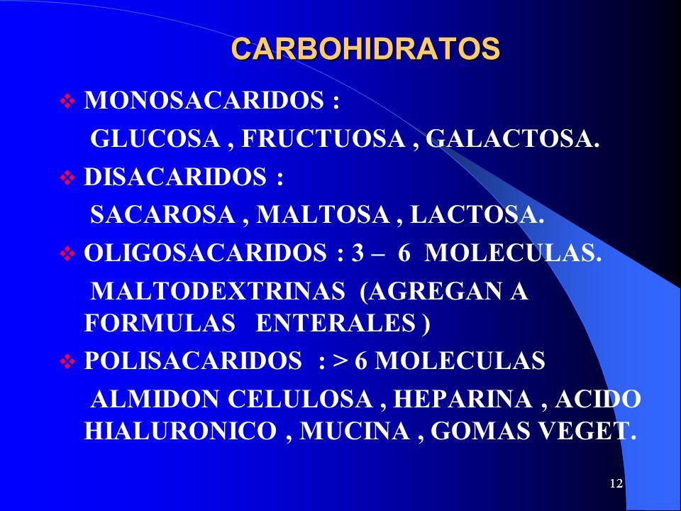 12 CARBOHIDRATOS MONOSACARIDOS : GLUCOSA, FRUCTUOSA, GALACTOSA. DISACARIDOS : SACAROSA, MALTOSA, LACTOSA. OLIGOSACARIDOS : 3 – 6 MOLECULAS. MALTODEXTR
