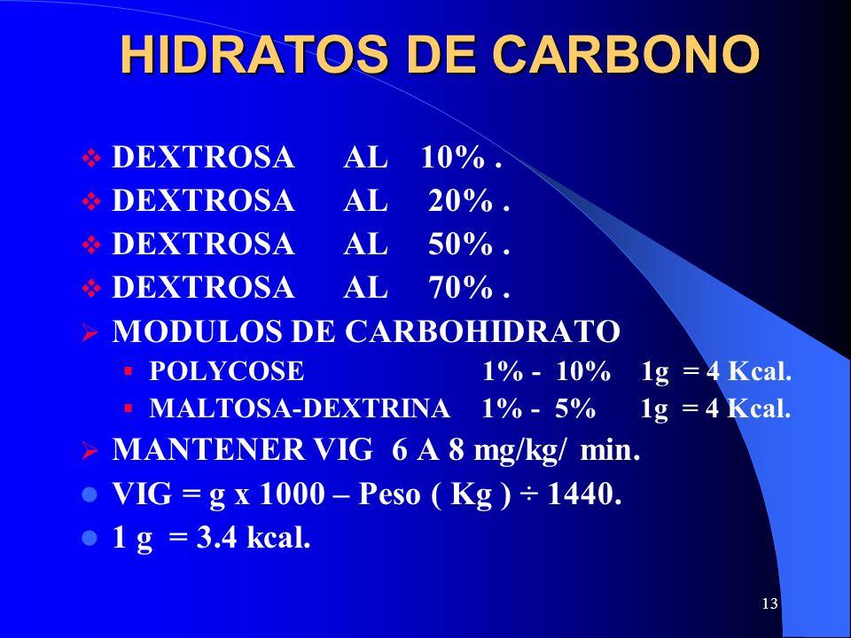 13 HIDRATOS DE CARBONO DEXTROSA AL 10%. DEXTROSA AL 20%. DEXTROSA AL 50%. DEXTROSA AL 70%. MODULOS DE CARBOHIDRATO POLYCOSE 1% - 10% 1g = 4 Kcal. MALT