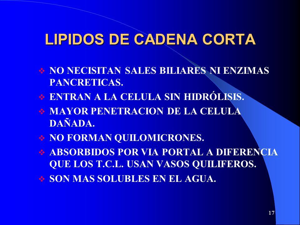 17 LIPIDOS DE CADENA CORTA NO NECISITAN SALES BILIARES NI ENZIMAS PANCRETICAS. ENTRAN A LA CELULA SIN HIDRÓLISIS. MAYOR PENETRACION DE LA CELULA DAÑAD