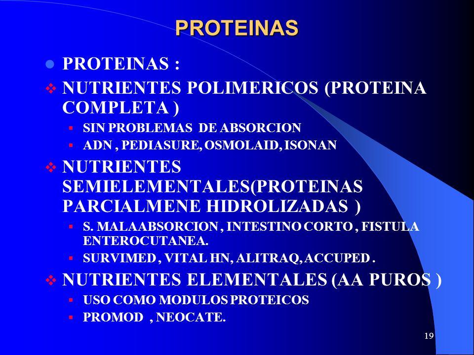 19 PROTEINAS PROTEINAS : NUTRIENTES POLIMERICOS (PROTEINA COMPLETA ) SIN PROBLEMAS DE ABSORCION ADN, PEDIASURE, OSMOLAID, ISONAN NUTRIENTES SEMIELEMEN