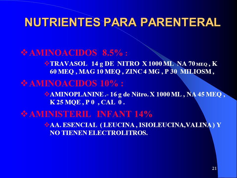 21 NUTRIENTES PARA PARENTERAL AMINOACIDOS 8.5% : TRAVASOL 14 g DE NITRO X 1000 ML NA 70 MEQ, K 60 MEQ, MAG 10 MEQ, ZINC 4 MG, P 30 MILIOSM, AMINOACIDO