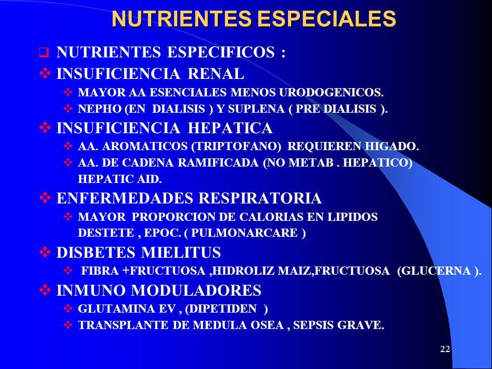 22 NUTRIENTES ESPECIALES NUTRIENTES ESPECIFICOS : INSUFICIENCIA RENAL MAYOR AA ESENCIALES MENOS URODOGENICOS. NEPHO (EN DIALISIS ) Y SUPLENA ( PRE DIA
