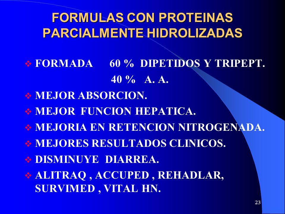 23 FORMULAS CON PROTEINAS PARCIALMENTE HIDROLIZADAS FORMADA 60 % DIPETIDOS Y TRIPEPT. 40 % A. A. MEJOR ABSORCION. MEJOR FUNCION HEPATICA. MEJORIA EN R