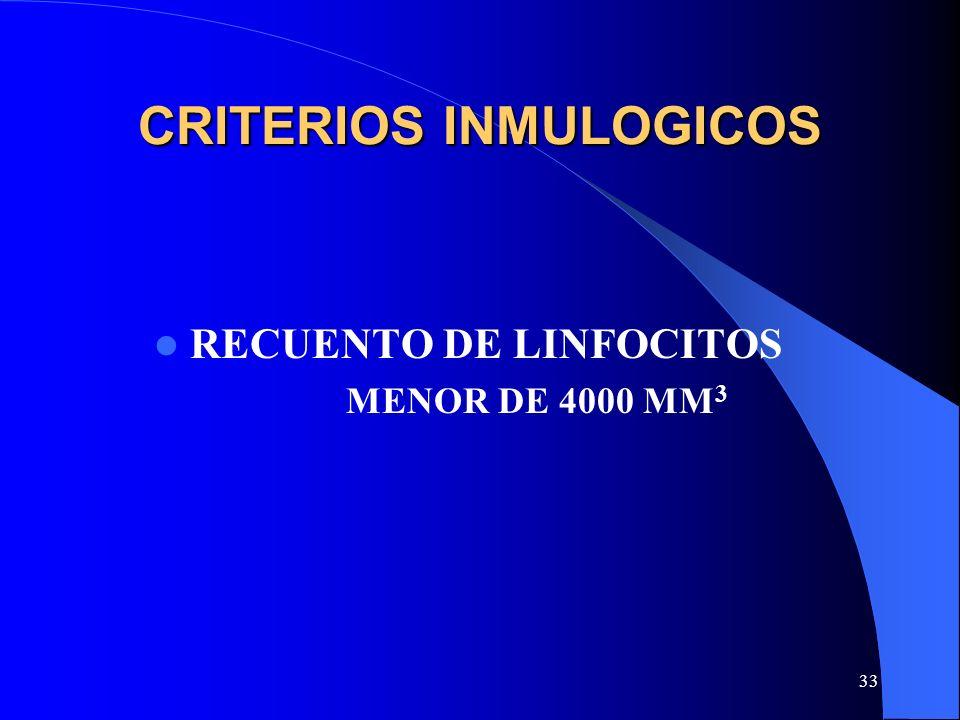 33 CRITERIOS INMULOGICOS RECUENTO DE LINFOCITOS MENOR DE 4000 MM 3