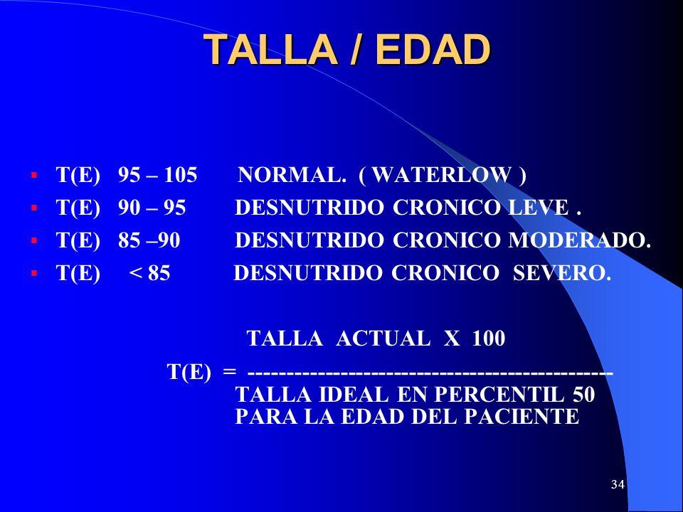 34 TALLA / EDAD T(E) 95 – 105 NORMAL. ( WATERLOW ) T(E) 90 – 95DESNUTRIDO CRONICO LEVE. T(E) 85 –90 DESNUTRIDO CRONICO MODERADO. T(E) < 85 DESNUTRIDO