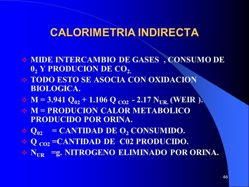46 CALORIMETRIA INDIRECTA MIDE INTERCAMBIO DE GASES, CONSUMO DE 0 2 Y PRODUCION DE CO 2. TODO ESTO SE ASOCIA CON OXIDACION BIOLOGICA. M = 3.941 Q 02 +