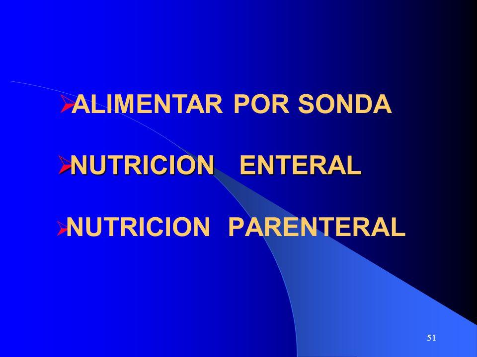 51 NUTRICION ENTERAL NUTRICION ENTERAL NUTRICION PARENTERAL ALIMENTAR POR SONDA