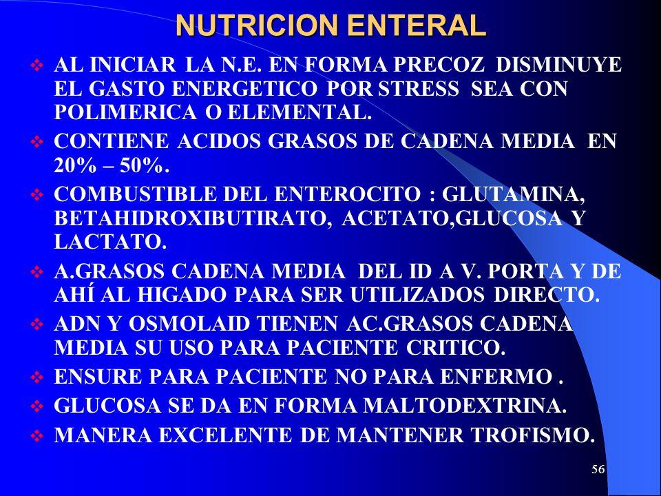 56 NUTRICION ENTERAL AL INICIAR LA N.E. EN FORMA PRECOZ DISMINUYE EL GASTO ENERGETICO POR STRESS SEA CON POLIMERICA O ELEMENTAL. CONTIENE ACIDOS GRASO