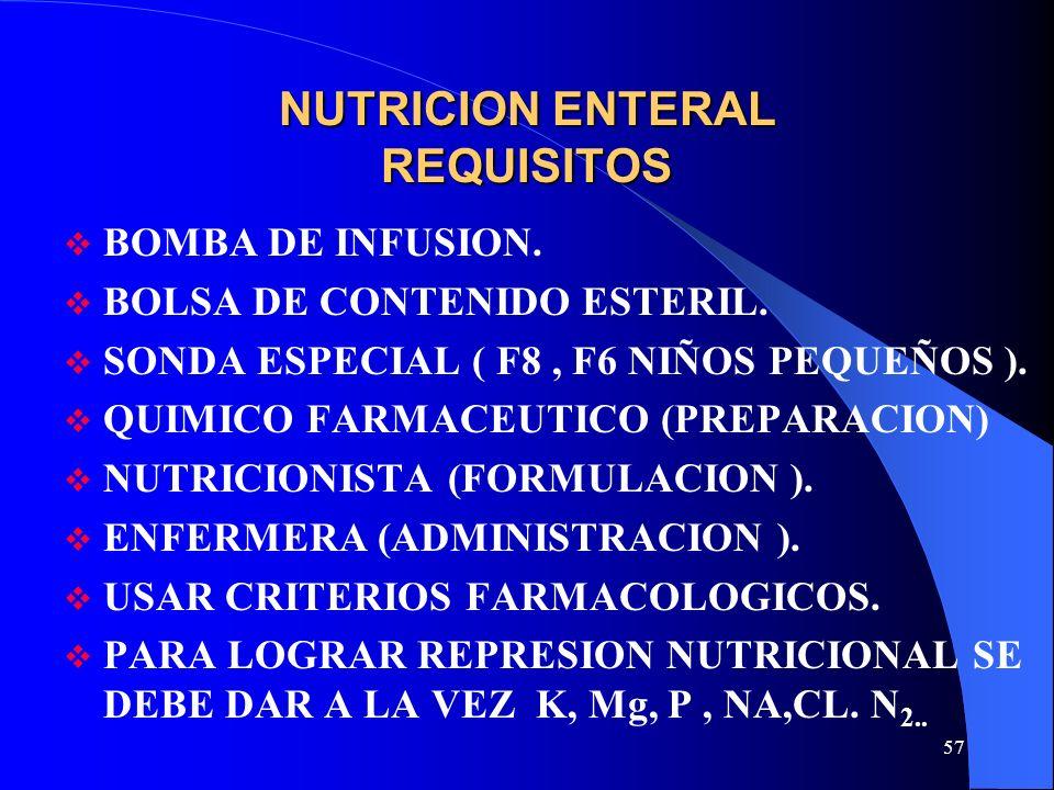 57 NUTRICION ENTERAL REQUISITOS BOMBA DE INFUSION. BOLSA DE CONTENIDO ESTERIL. SONDA ESPECIAL ( F8, F6 NIÑOS PEQUEÑOS ). QUIMICO FARMACEUTICO (PREPARA