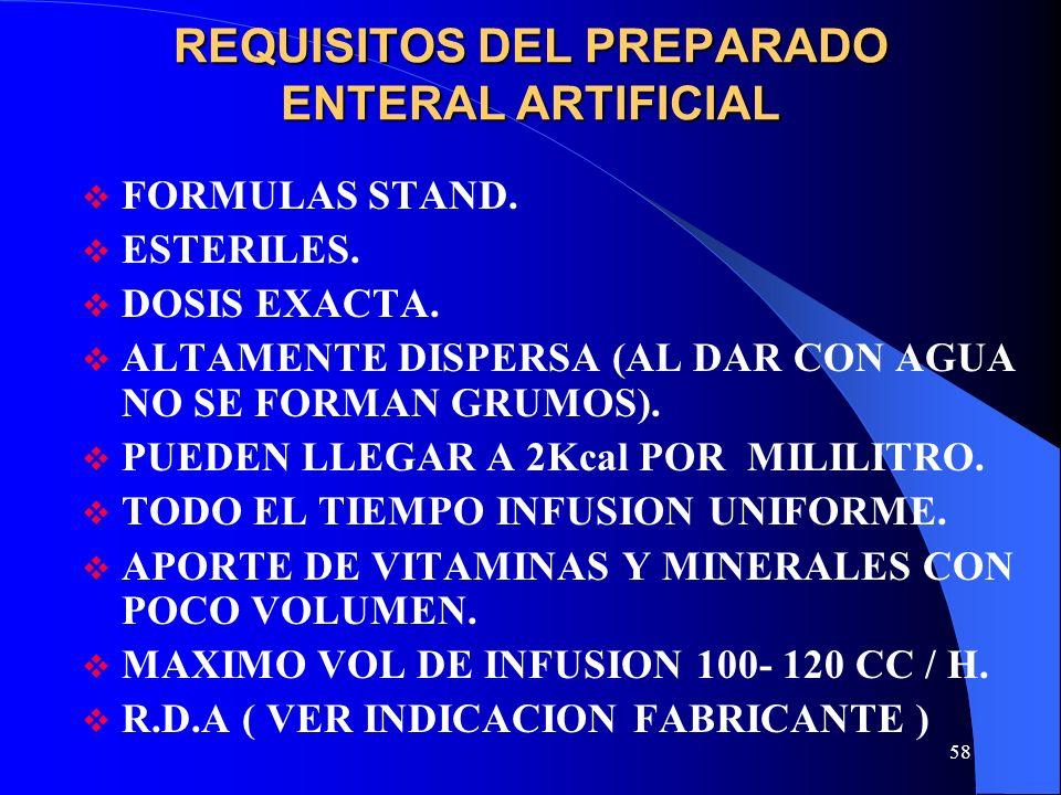 58 REQUISITOS DEL PREPARADO ENTERAL ARTIFICIAL FORMULAS STAND. ESTERILES. DOSIS EXACTA. ALTAMENTE DISPERSA (AL DAR CON AGUA NO SE FORMAN GRUMOS). PUED