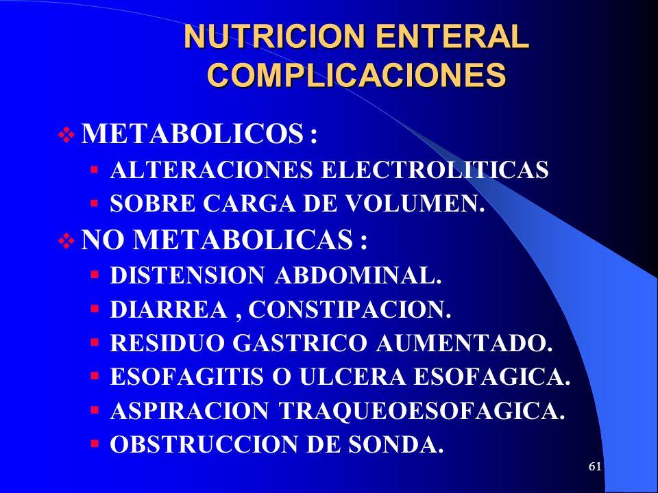 61 NUTRICION ENTERAL COMPLICACIONES METABOLICOS : ALTERACIONES ELECTROLITICAS SOBRE CARGA DE VOLUMEN. NO METABOLICAS : DISTENSION ABDOMINAL. DIARREA,