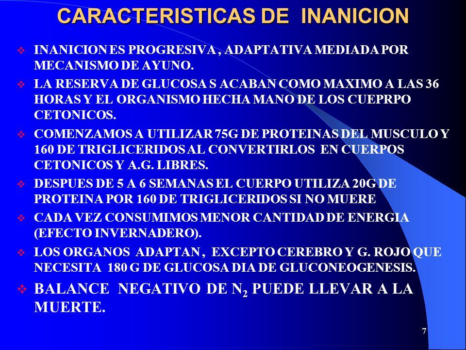 7 CARACTERISTICAS DE INANICION INANICION ES PROGRESIVA, ADAPTATIVA MEDIADA POR MECANISMO DE AYUNO. LA RESERVA DE GLUCOSA S ACABAN COMO MAXIMO A LAS 36