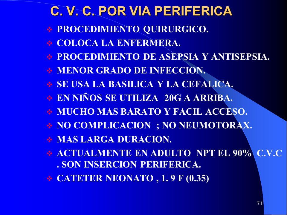 71 C. V. C. POR VIA PERIFERICA PROCEDIMIENTO QUIRURGICO. COLOCA LA ENFERMERA. PROCEDIMIENTO DE ASEPSIA Y ANTISEPSIA. MENOR GRADO DE INFECCION. SE USA