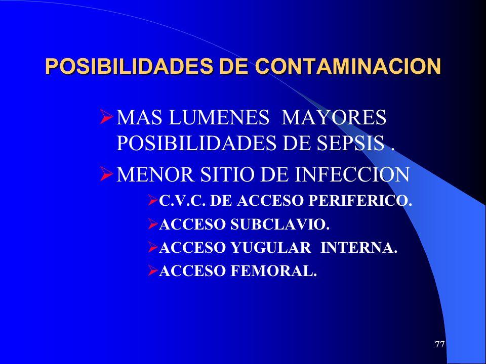 77 POSIBILIDADES DE CONTAMINACION MAS LUMENES MAYORES POSIBILIDADES DE SEPSIS. MENOR SITIO DE INFECCION C.V.C. DE ACCESO PERIFERICO. ACCESO SUBCLAVIO.