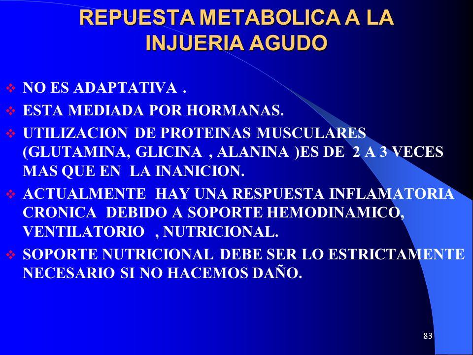 83 REPUESTA METABOLICA A LA INJUERIA AGUDO NO ES ADAPTATIVA. ESTA MEDIADA POR HORMANAS. UTILIZACION DE PROTEINAS MUSCULARES (GLUTAMINA, GLICINA, ALANI