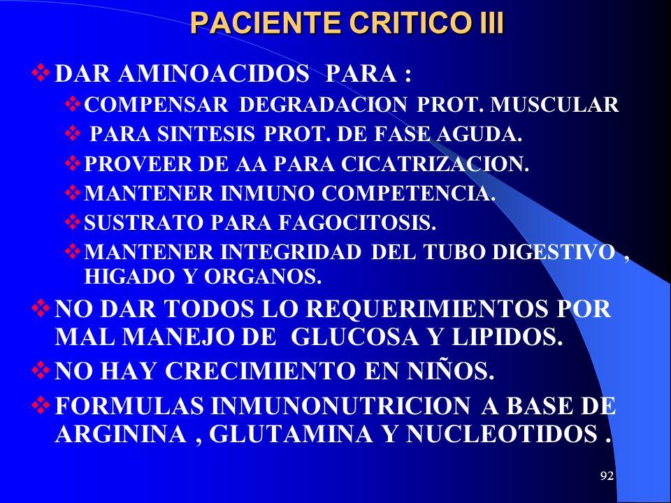 92 PACIENTE CRITICO III DAR AMINOACIDOS PARA : COMPENSAR DEGRADACION PROT. MUSCULAR PARA SINTESIS PROT. DE FASE AGUDA. PROVEER DE AA PARA CICATRIZACIO