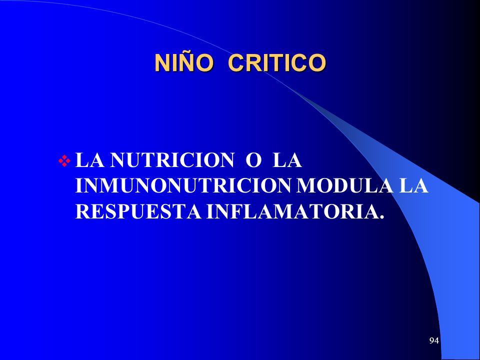 94 NIÑO CRITICO LA NUTRICION O LA INMUNONUTRICION MODULA LA RESPUESTA INFLAMATORIA.