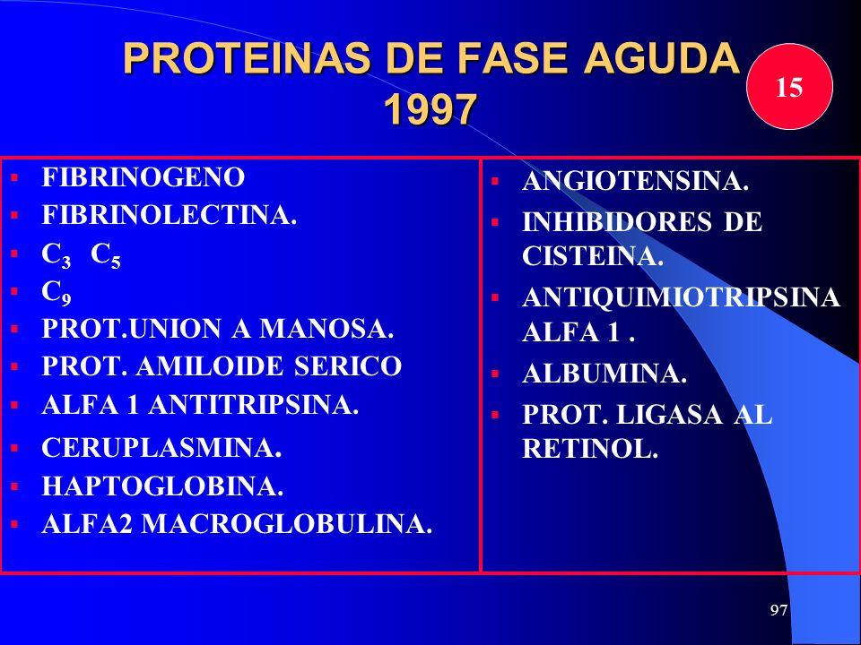 97 PROTEINAS DE FASE AGUDA 1997 FIBRINOGENO FIBRINOLECTINA. C 3 C 5 C 9 PROT.UNION A MANOSA. PROT. AMILOIDE SERICO ALFA 1 ANTITRIPSINA. CERUPLASMINA.