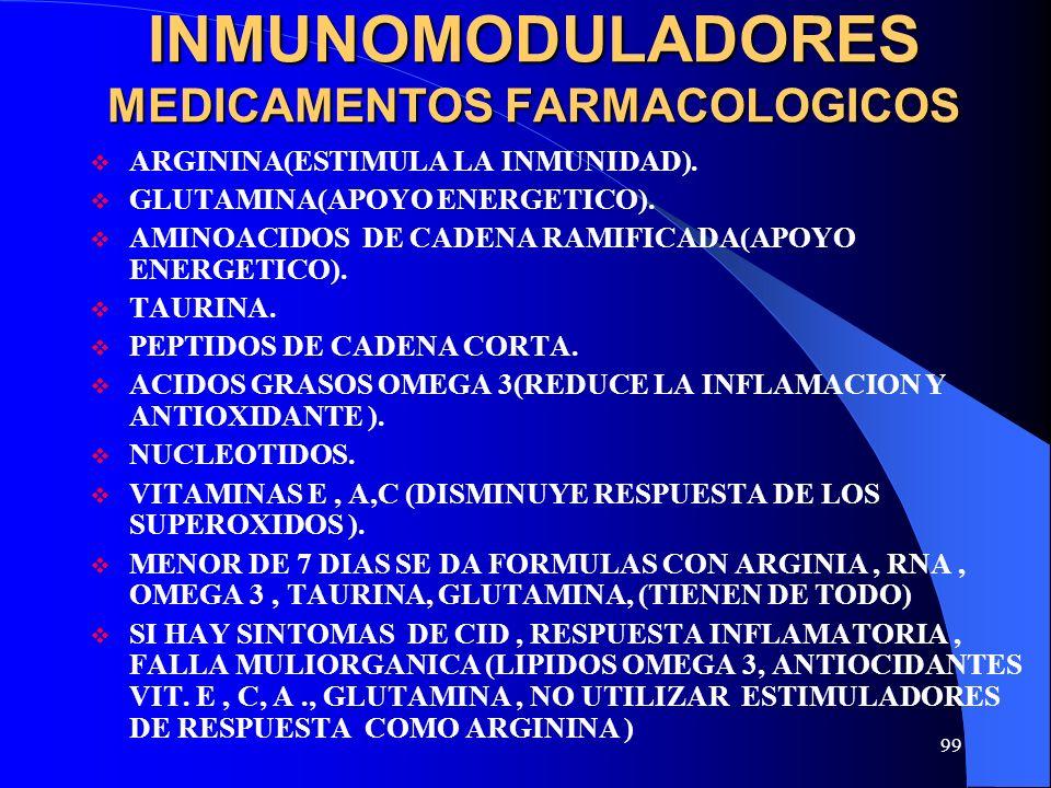 99 INMUNOMODULADORES MEDICAMENTOS FARMACOLOGICOS ARGININA(ESTIMULA LA INMUNIDAD). GLUTAMINA(APOYO ENERGETICO). AMINOACIDOS DE CADENA RAMIFICADA(APOYO