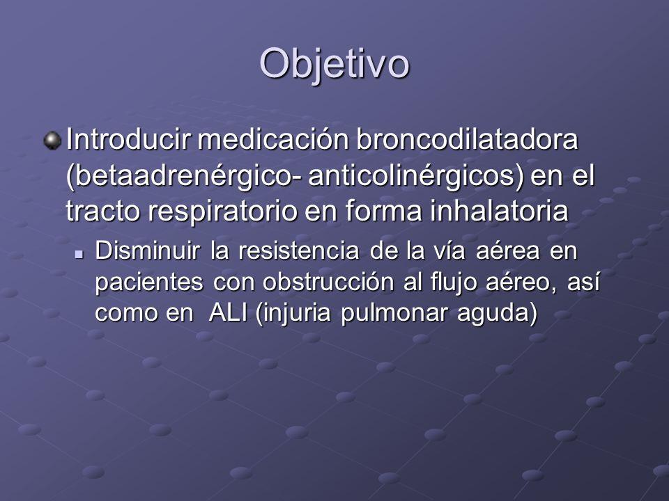 Objetivo Introducir medicación broncodilatadora (betaadrenérgico- anticolinérgicos) en el tracto respiratorio en forma inhalatoria Disminuir la resist