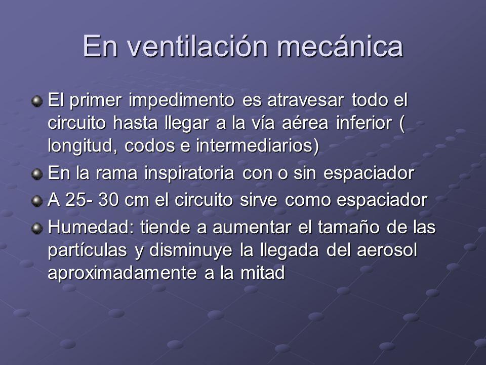 En ventilación mecánica El primer impedimento es atravesar todo el circuito hasta llegar a la vía aérea inferior ( longitud, codos e intermediarios) E