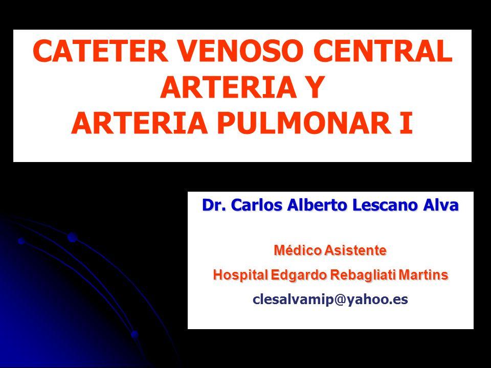 CATETER VENOSO CENTRAL ARTERIA Y ARTERIA PULMONAR I Dr. Carlos Alberto Lescano Alva Médico Asistente Hospital Edgardo Rebagliati Martins clesalvamip@y