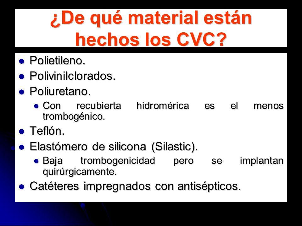 ¿De qué material están hechos los CVC? Polietileno. Polietileno. Polivinilclorados. Polivinilclorados. Poliuretano. Poliuretano. Con recubierta hidrom